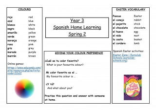 Year 3, Spring 2, Spanish Home Learning