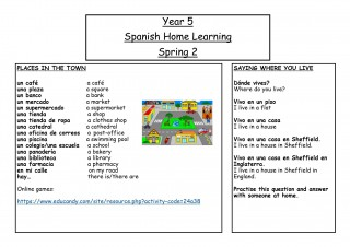 Year 5, Spring 2, Spanish Home Learning