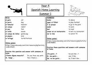 Y4 Spanish Home Learning